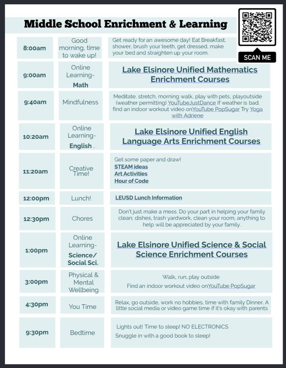 Middle School Schedule