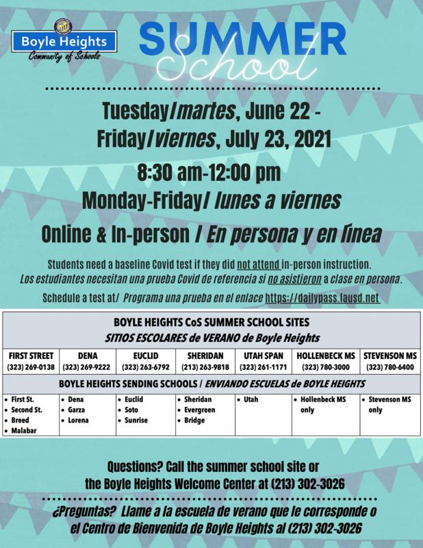 Boyle Heights Community of Schools TK-8 Summer School starts Tuesday, June 22, 2021 Featured Photo