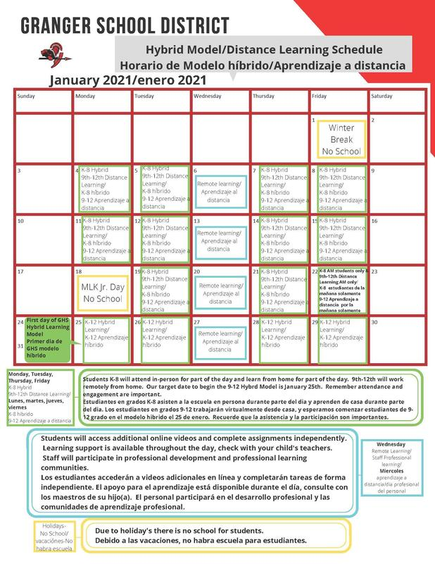 January learning schedule