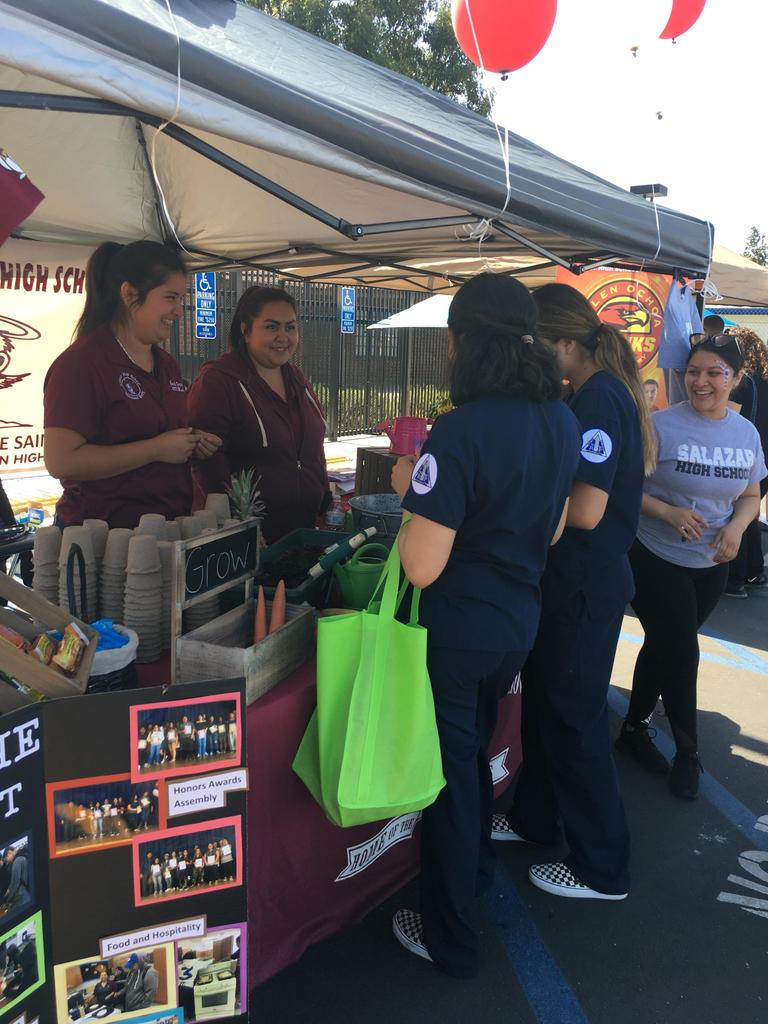 Salazar students share growing tips with visitors at the ERUSD Health Fair.
