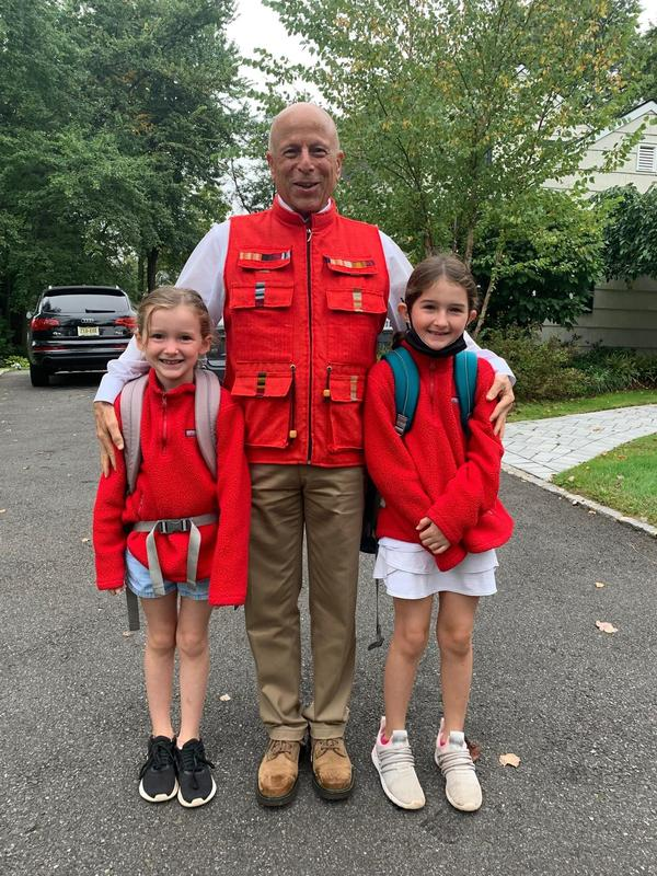 Photo of Washington students with principal on Walk to School Day