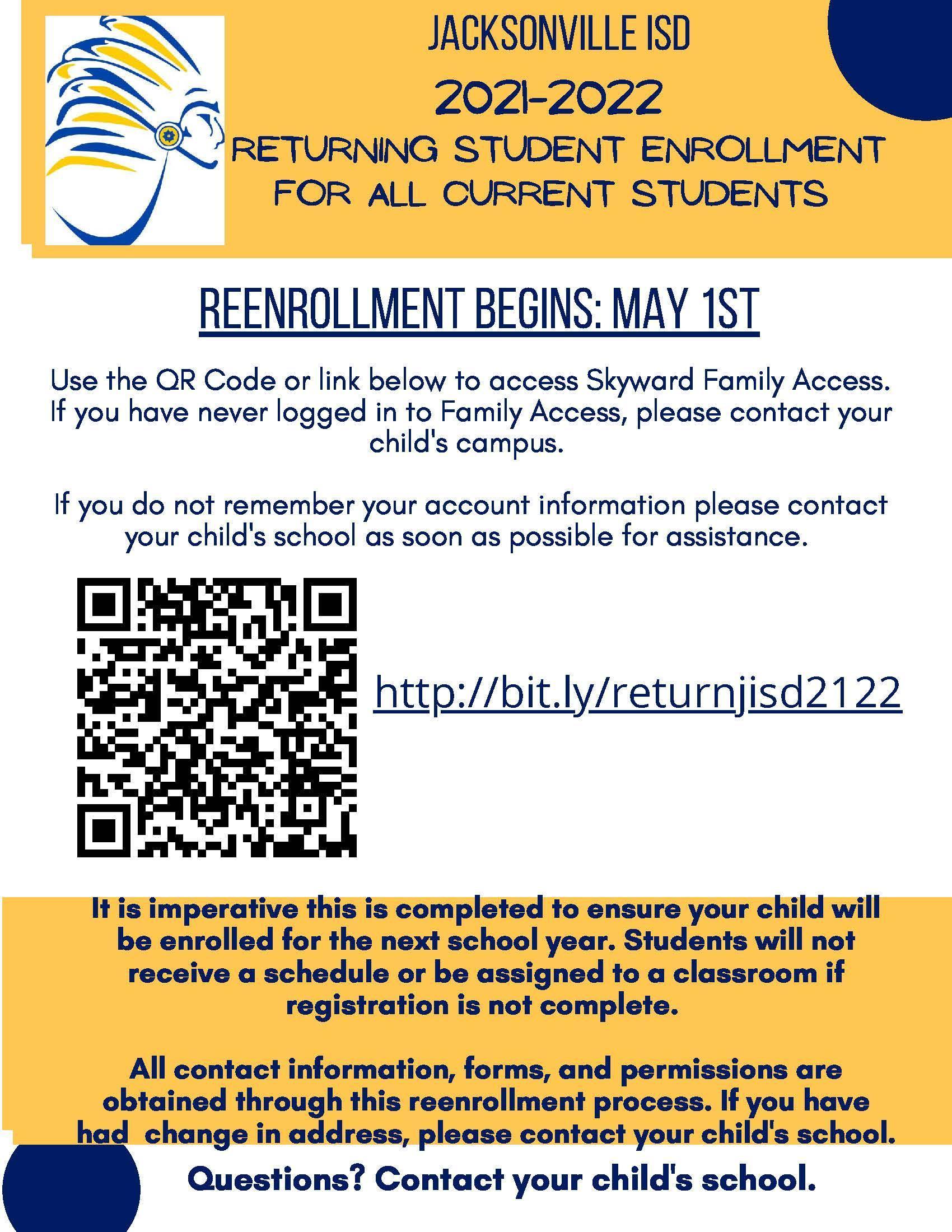 reenrollment informtion