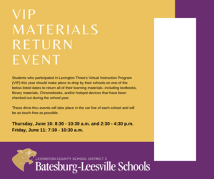 VIP Materials Return Event Planned