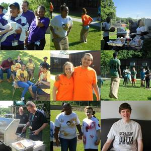 Collage of students and staff enjoying Field Day 2018
