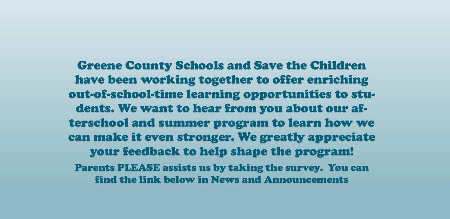 Save the Children Parent Survey