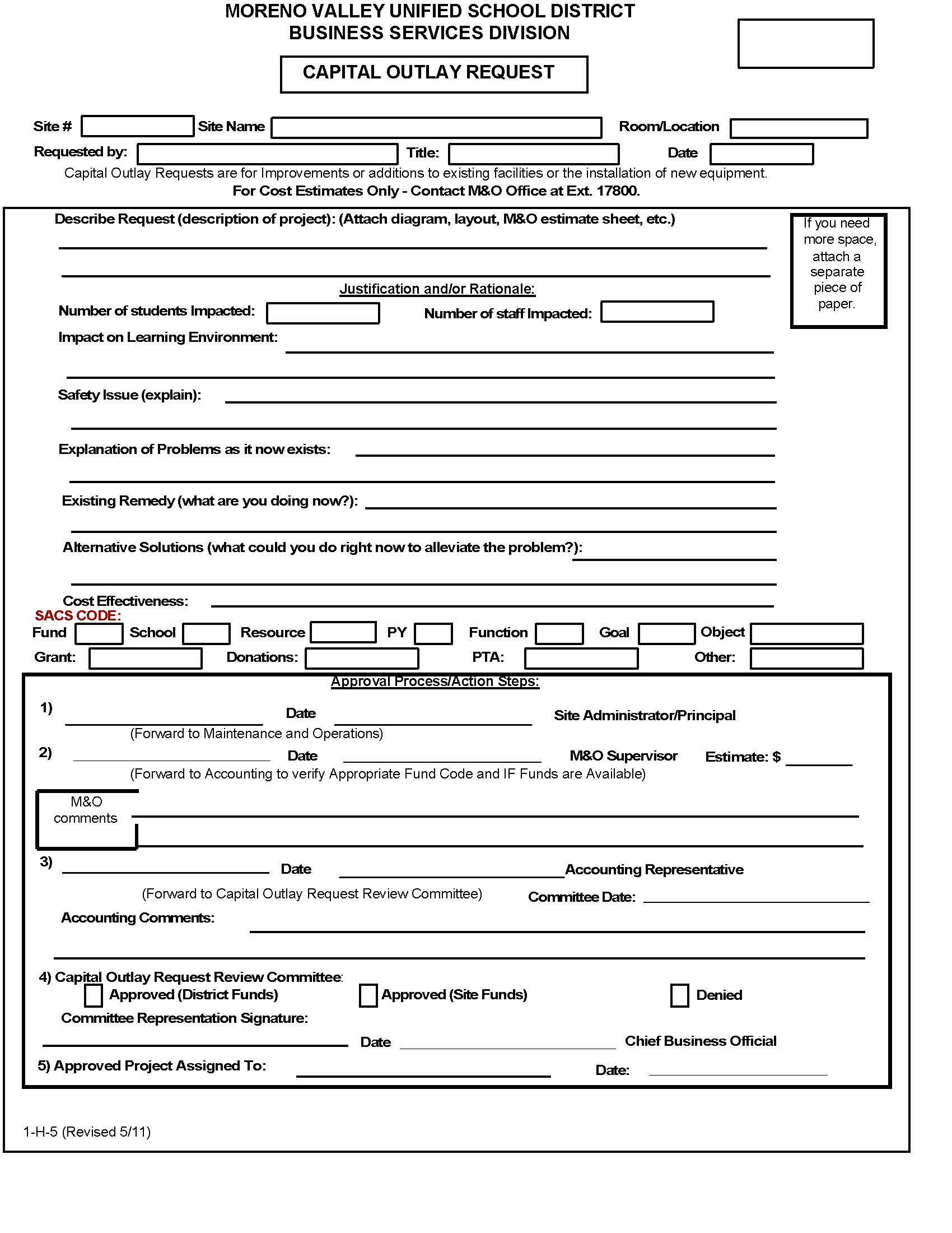 Image of Capital Outlay Form