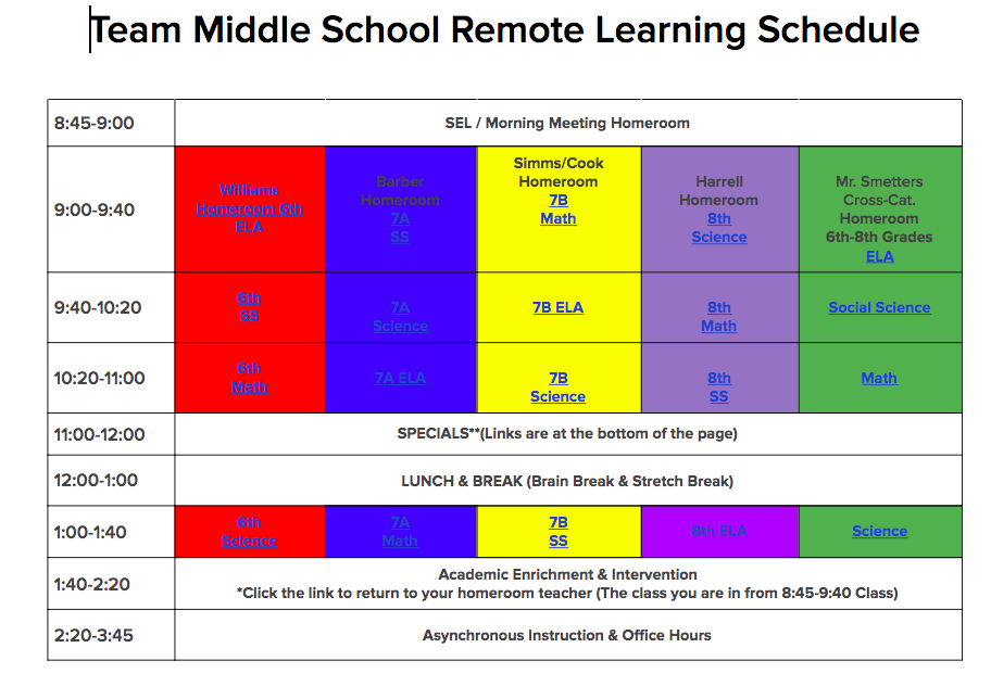 SY21 TEAm Middle School Remote Learning Schedule