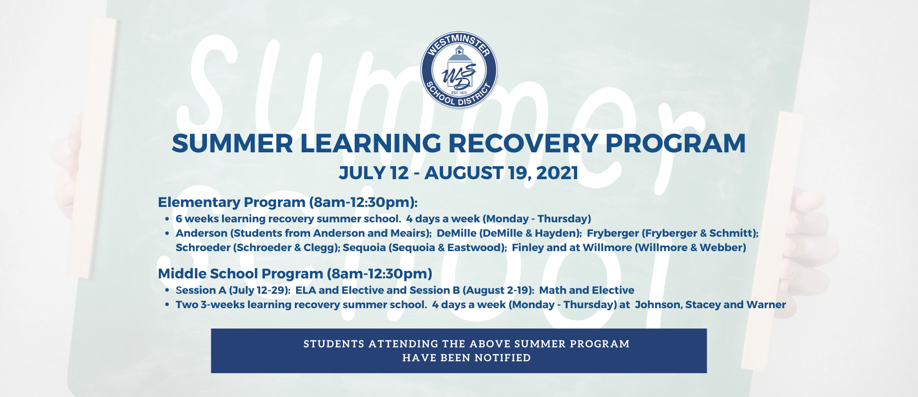 Summer Learning Recovery Program 2021