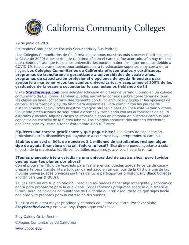 Letter to High School Graduates from California Community Colleges Featured Photo