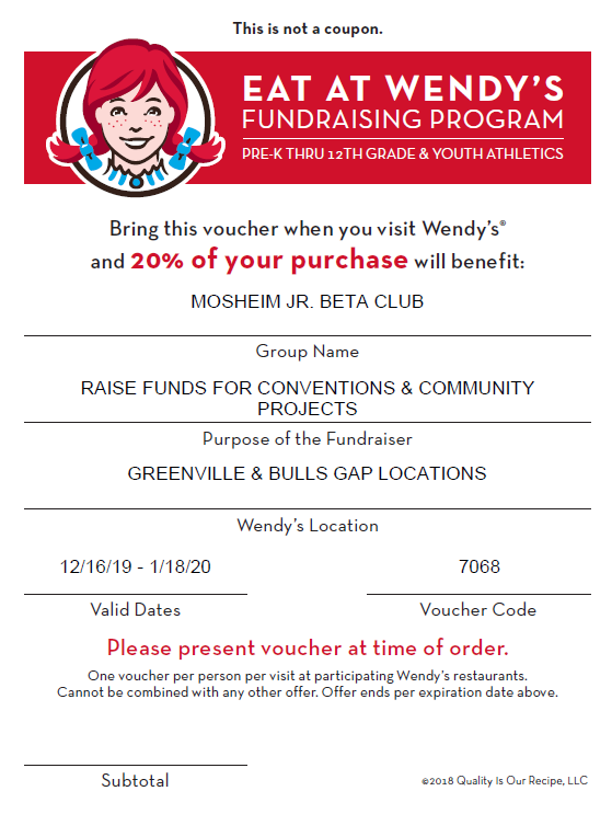 Beta Club Wendys Fundraiser