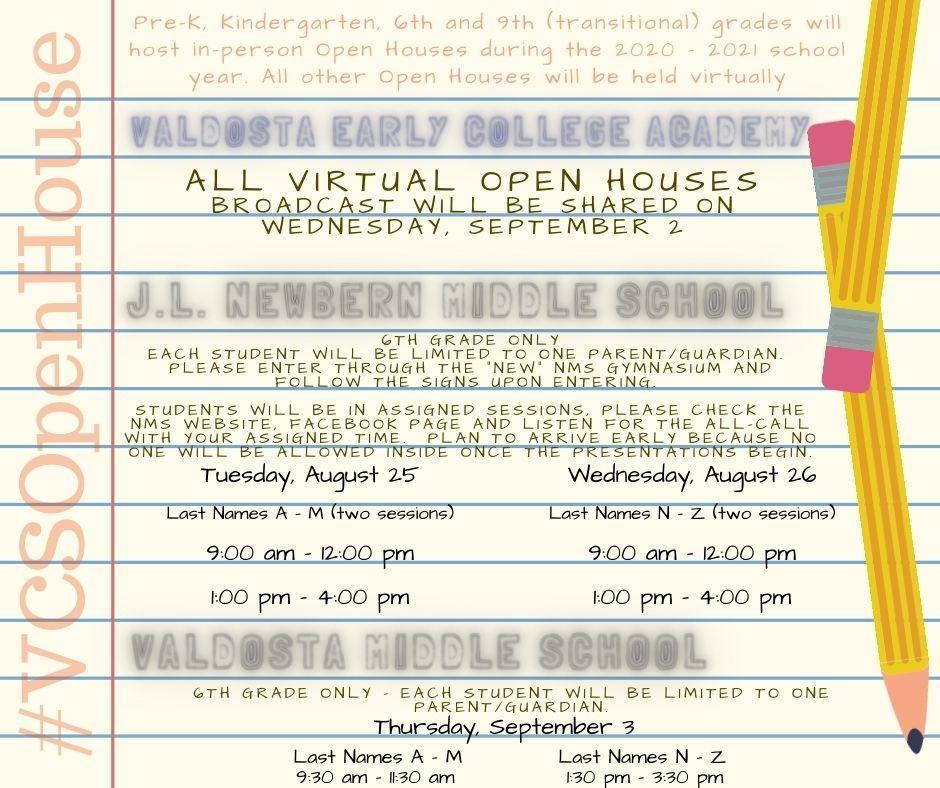 Open House Info VECA NMS VMS