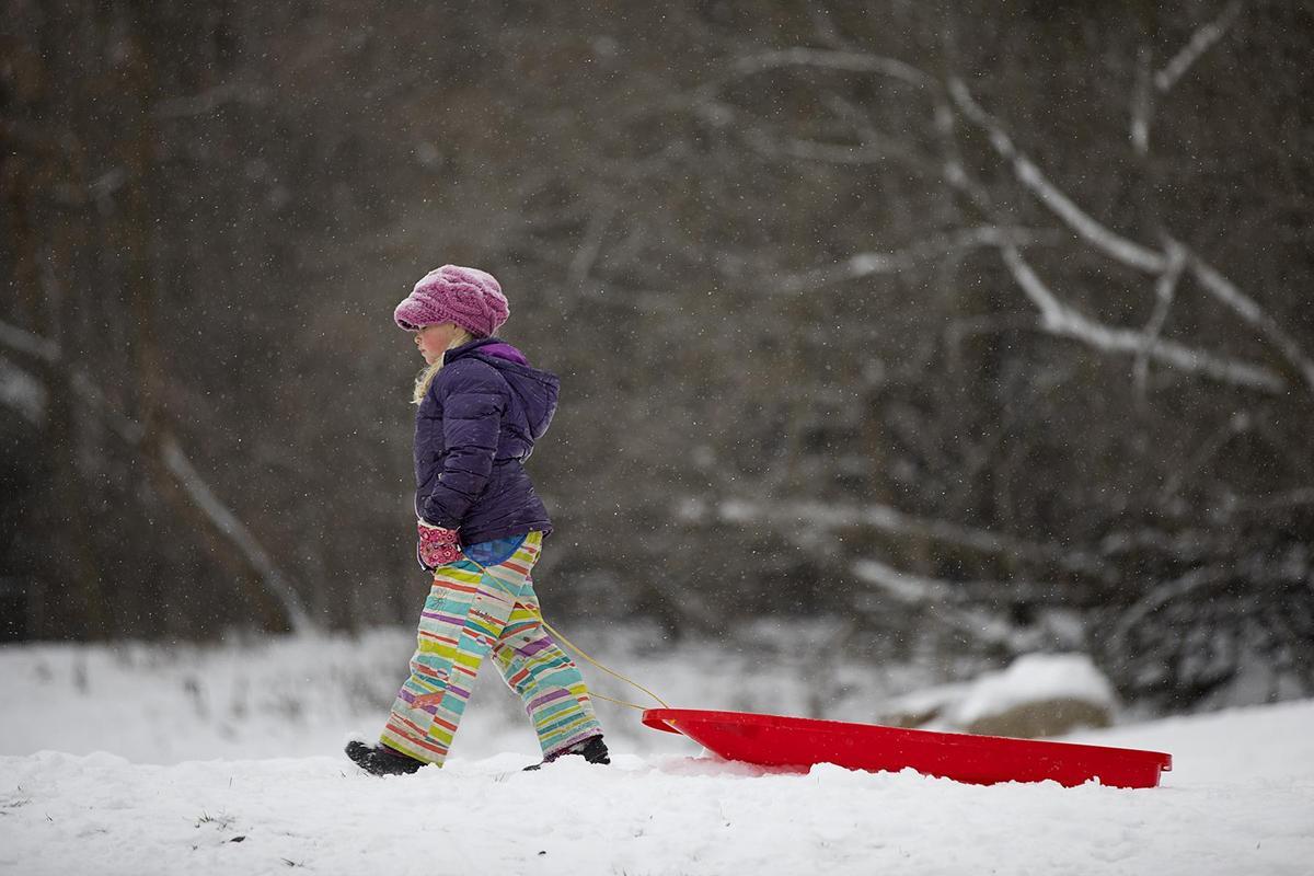 Student pulling sled