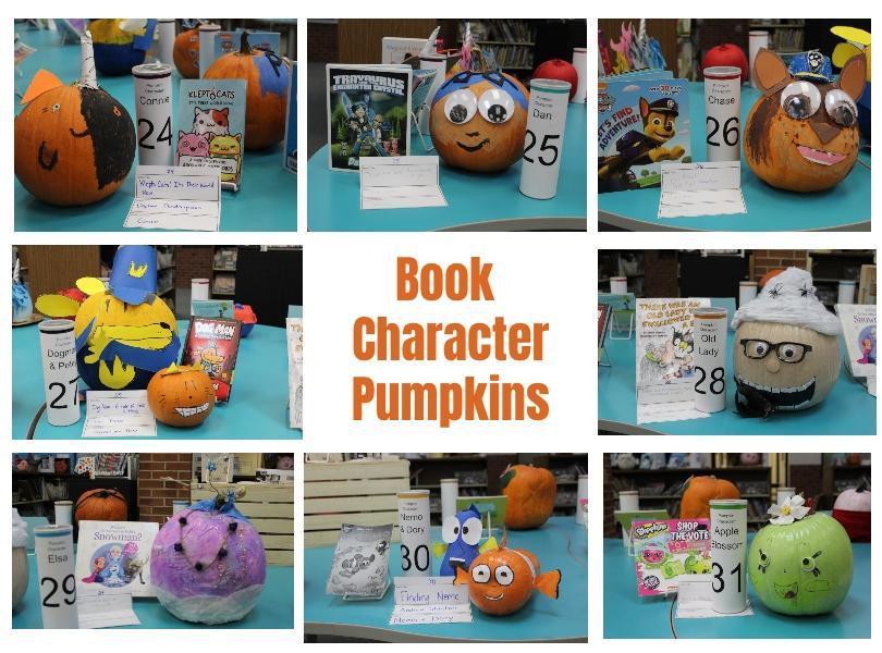 Image of more book character pumpkins