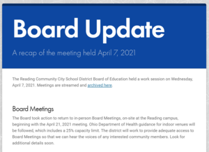 Image of the front of the Board Update for 4-7