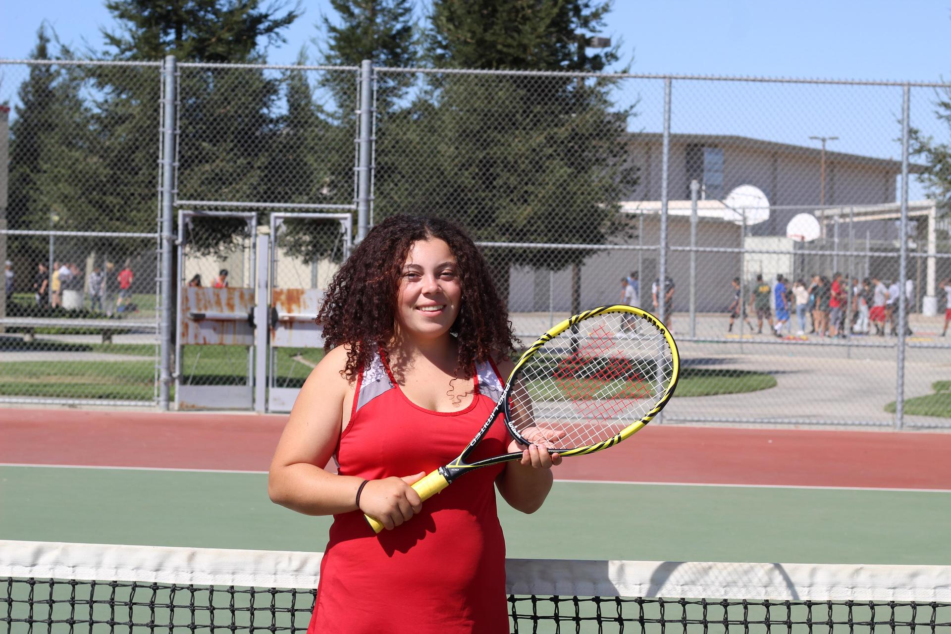 Senior tennis player Beverly Goncalves.