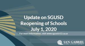 Update on the Reopening of Schools, July 1, 2020