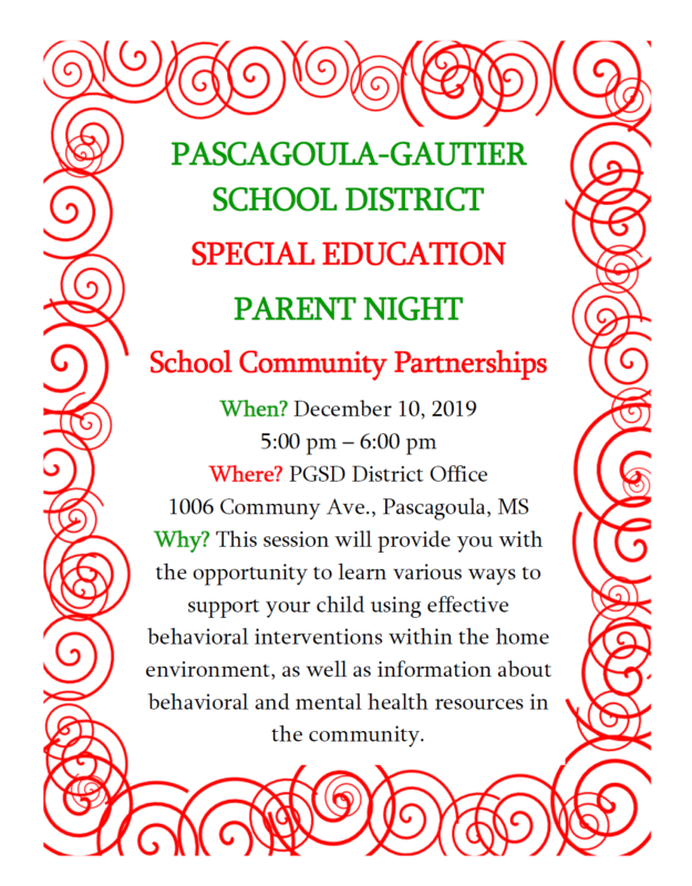 Special Education Parent Night 12/10/2019 5:00 pm