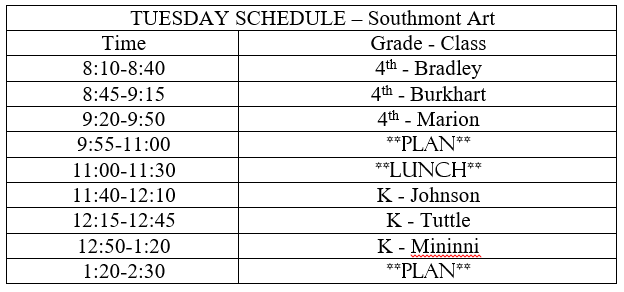 Tuesday Schedule