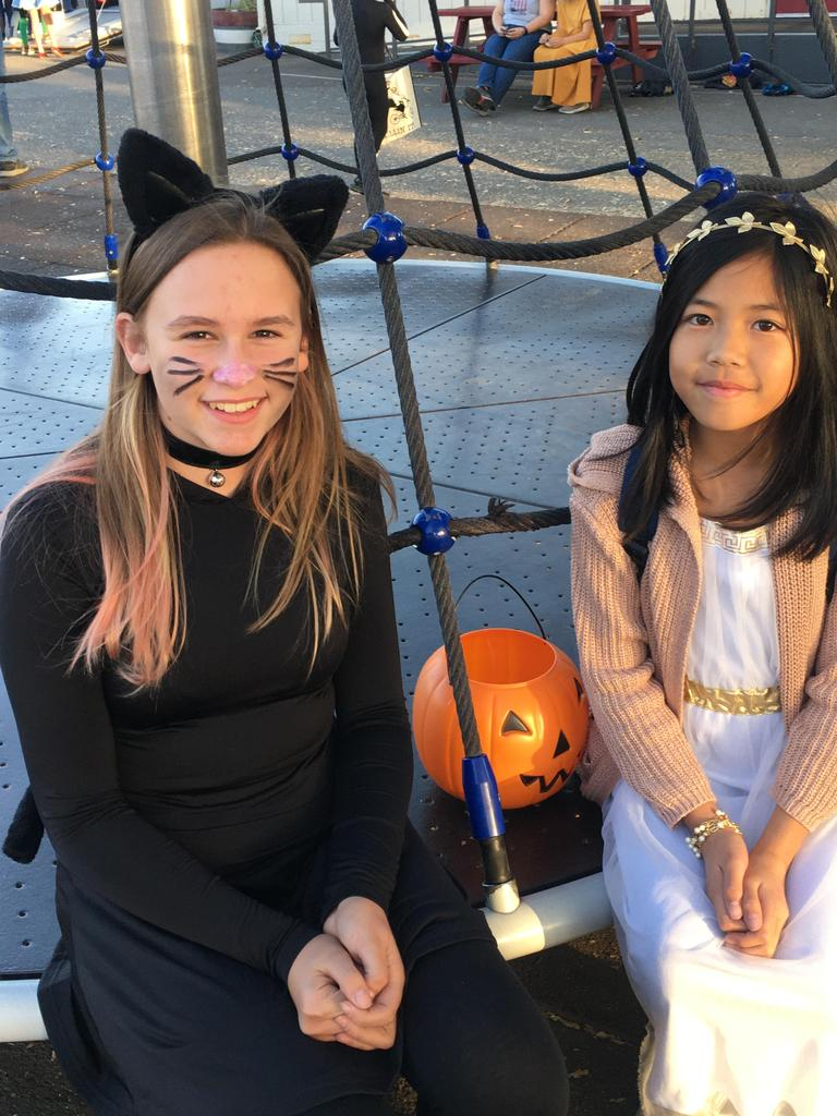 Girl dressed as cat and other girl as princess