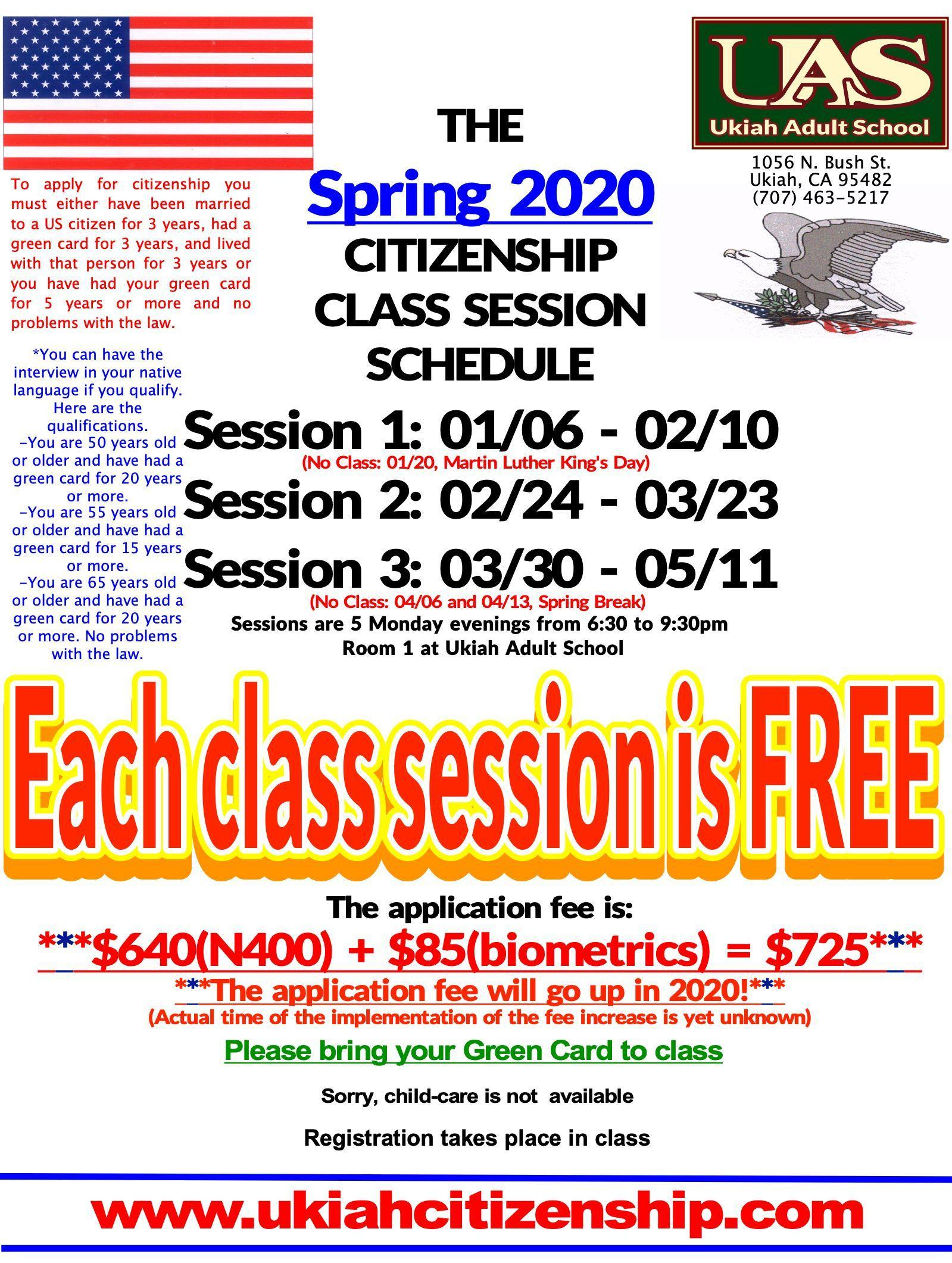 Spring 2020 Citizenship class session schedule poster.