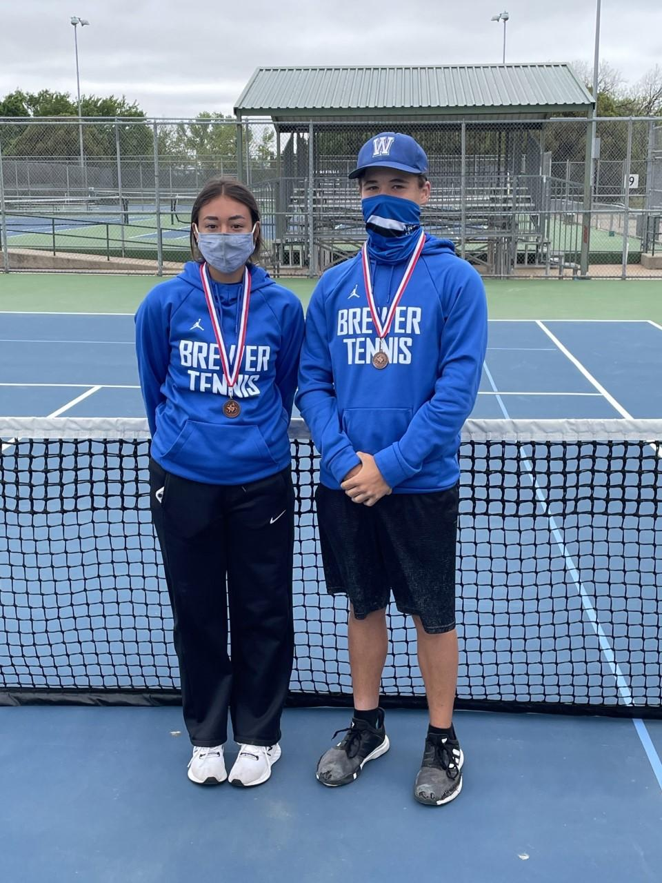 Nathan Thornbrough and Avery Brown placed fourth at district in mixed doubles, and they'll be regional alternates.