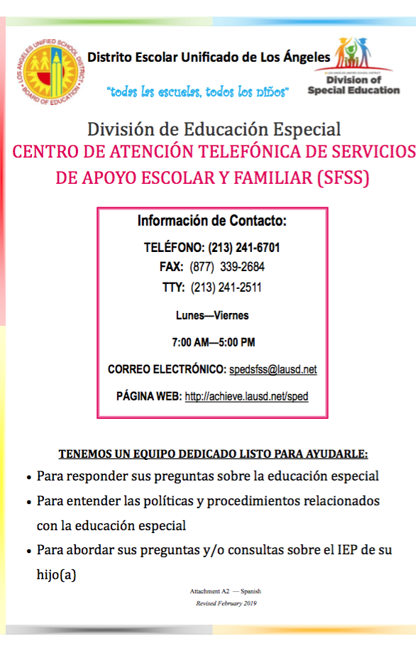 Division of Special Education SCHOOL AND FAMILY SUPPORT SERVICES (SFSS) CALL CENTER
