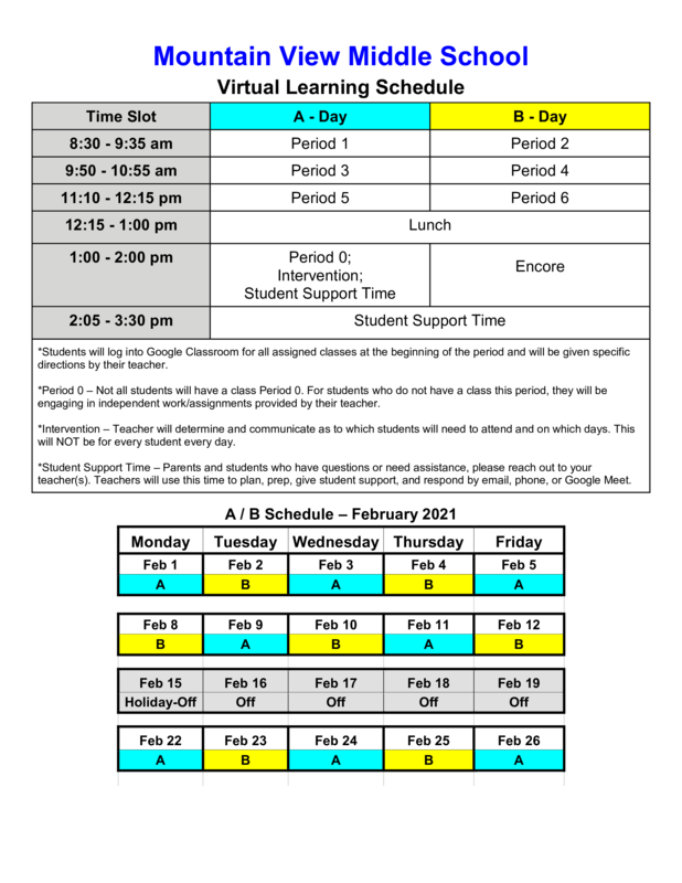 February Virtual Learning Schedule Featured Photo