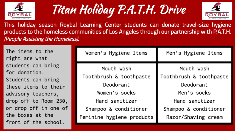 P.A.T.H. (People Assisting the Homeless) Holiday Hygiene Kit Donation Collection Thumbnail Image