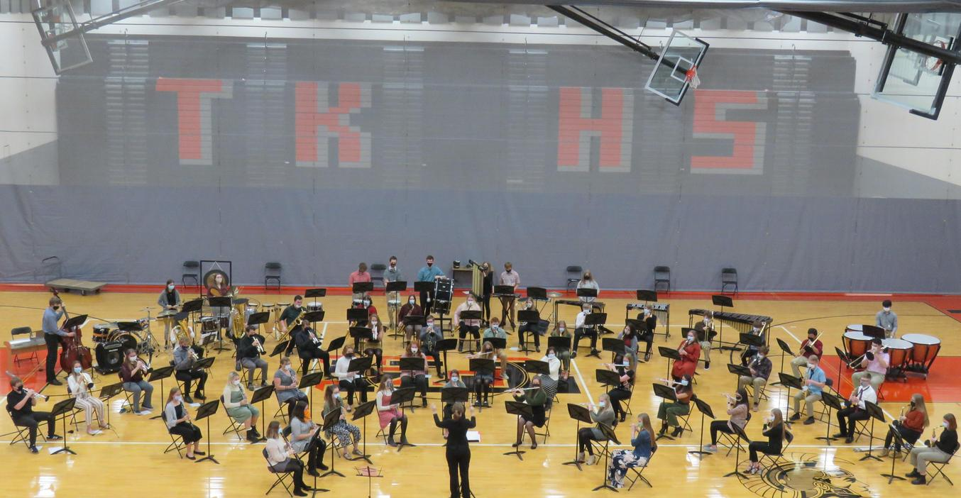 TKHS bands move their concerts to the gymnasium so they can socially distance but still all be together.