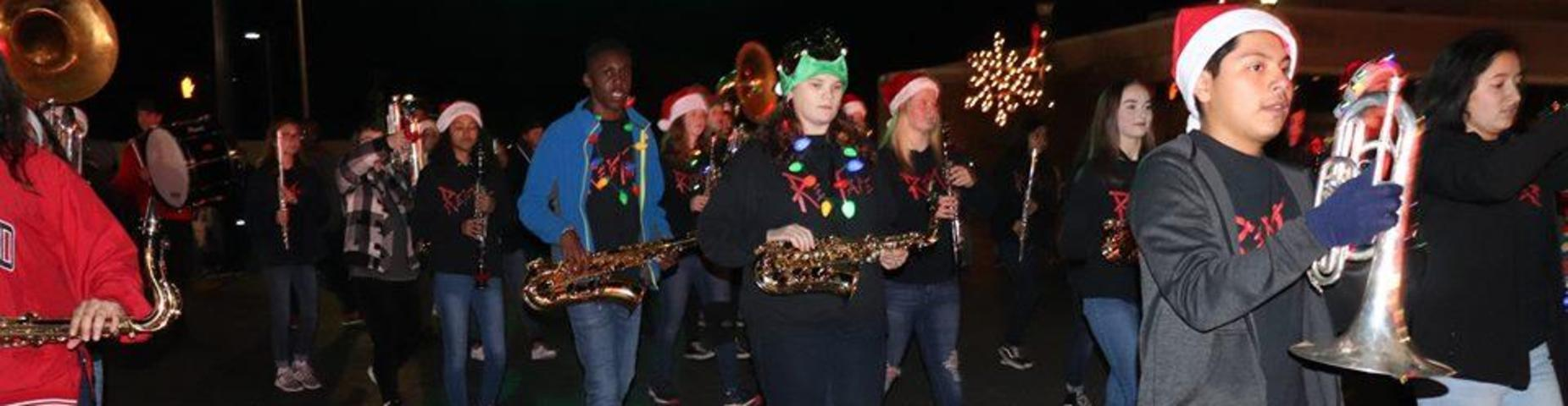 Mayfield High School Band marching in Christmas Parade