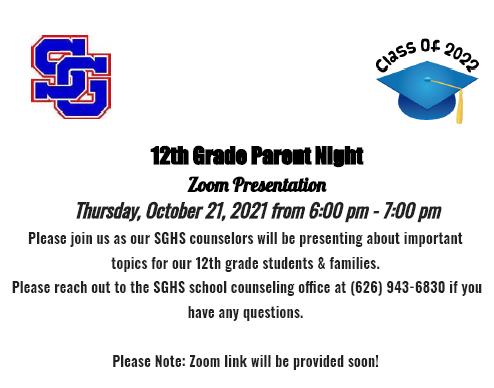 12 Grade Parent Night Featured Photo