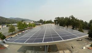 Looking North over one of the new solar/shade structures at Grace Hudson Elementary School 9 2020
