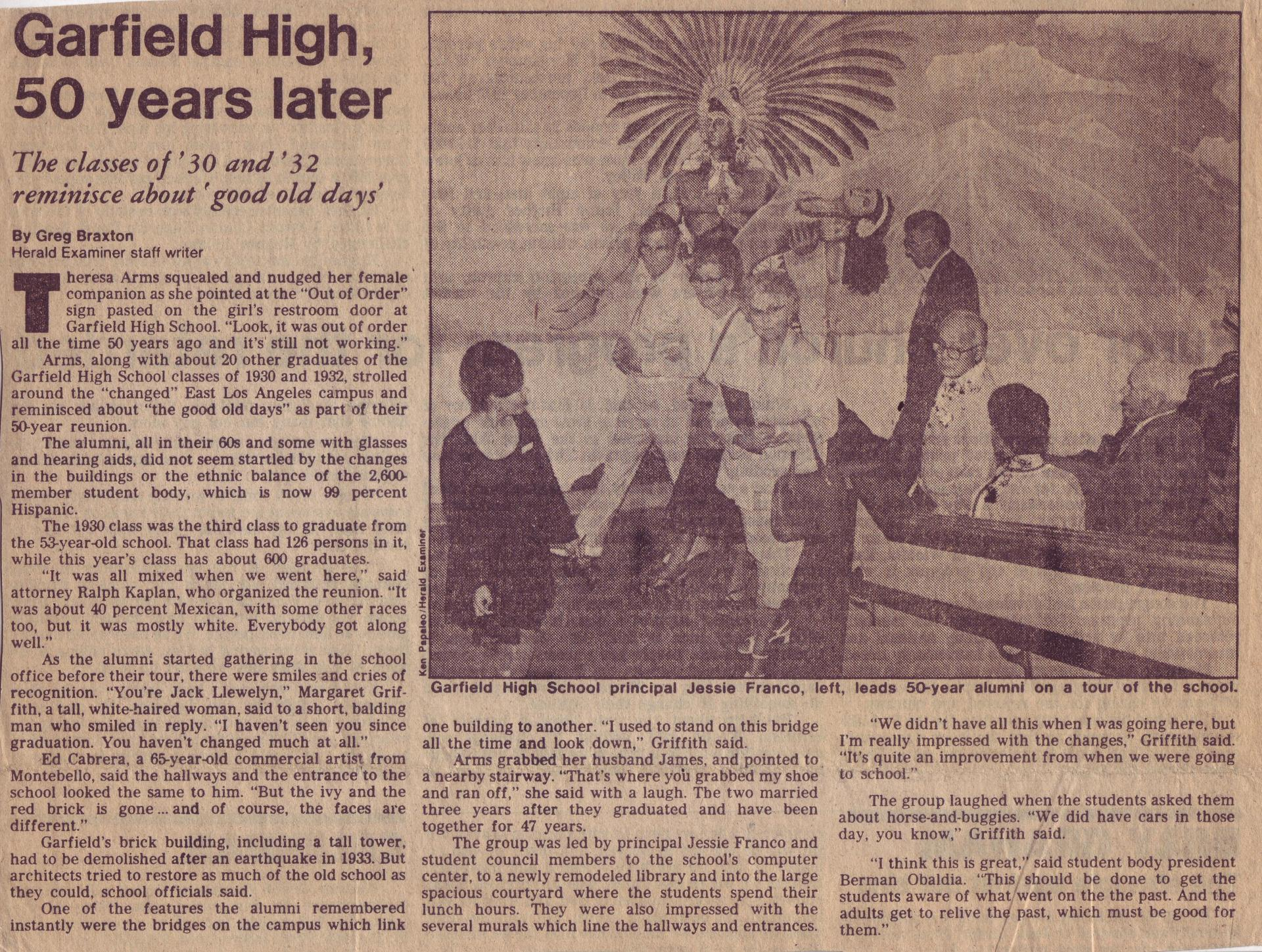 The class of 1930 visits Garfield class of 1980