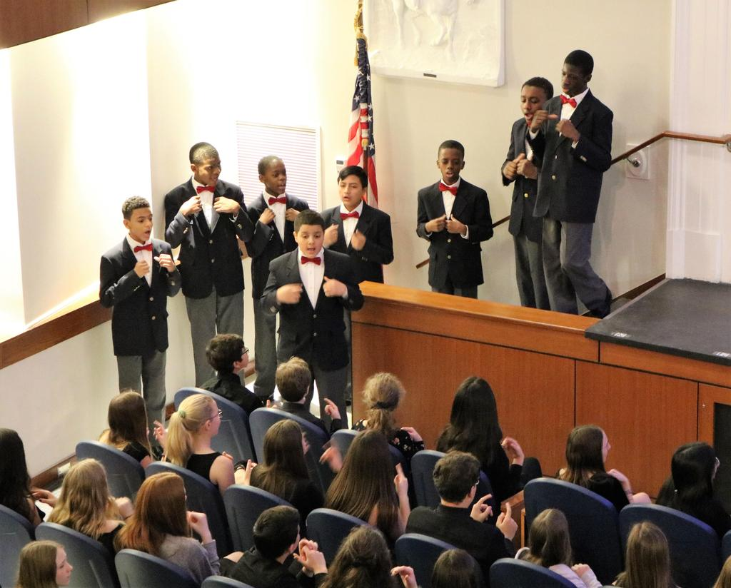 Photo of Newark Boys Choir performing at Roosevelt Black History Month assembly