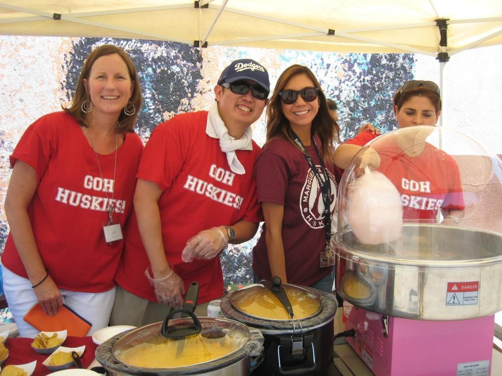 PTA members participate in serving food