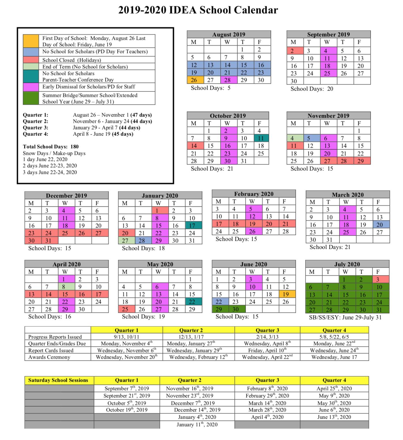 Pgcc Calendar 2020 2019 2020 Calendar | IDEA Public Charter School