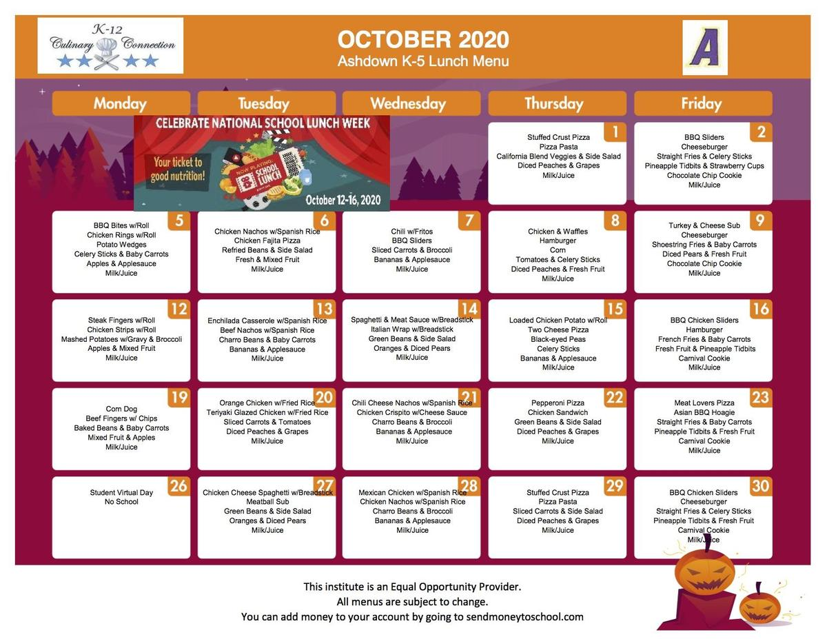 K-5 October Lunch Menu