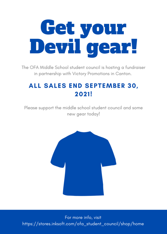 FLYER WITH BLUE T -SHIRT THAT READS GET YOUR DEVIL GEAR!