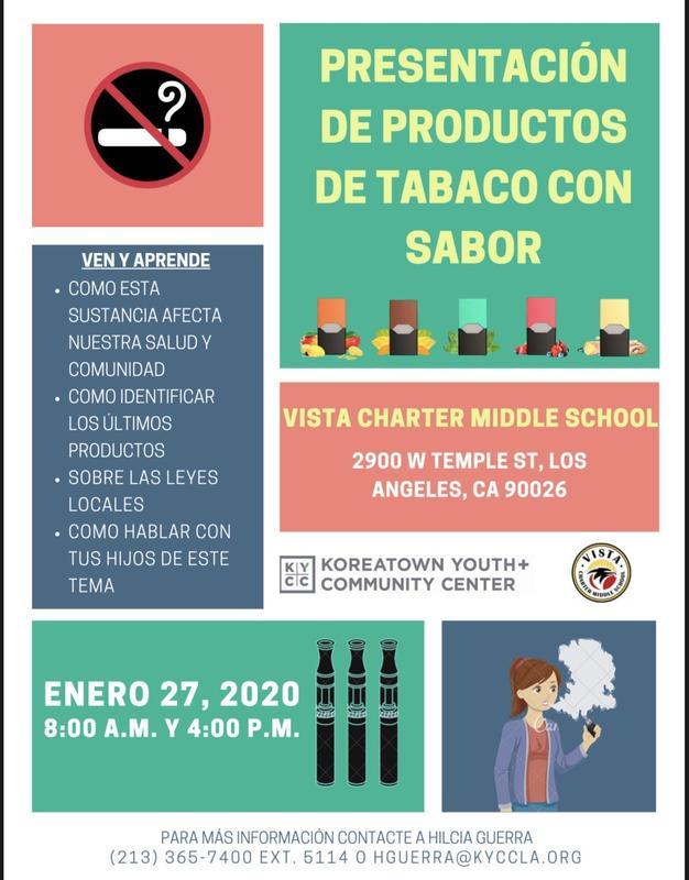 presentaciõn de productos de tabaco con sabor flyer