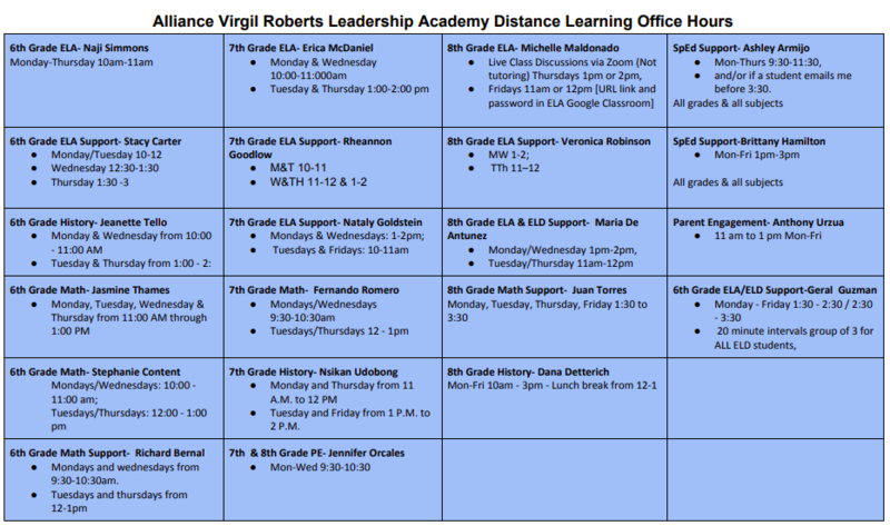 Distance Learning Teacher and Staff Office Hours Thumbnail Image