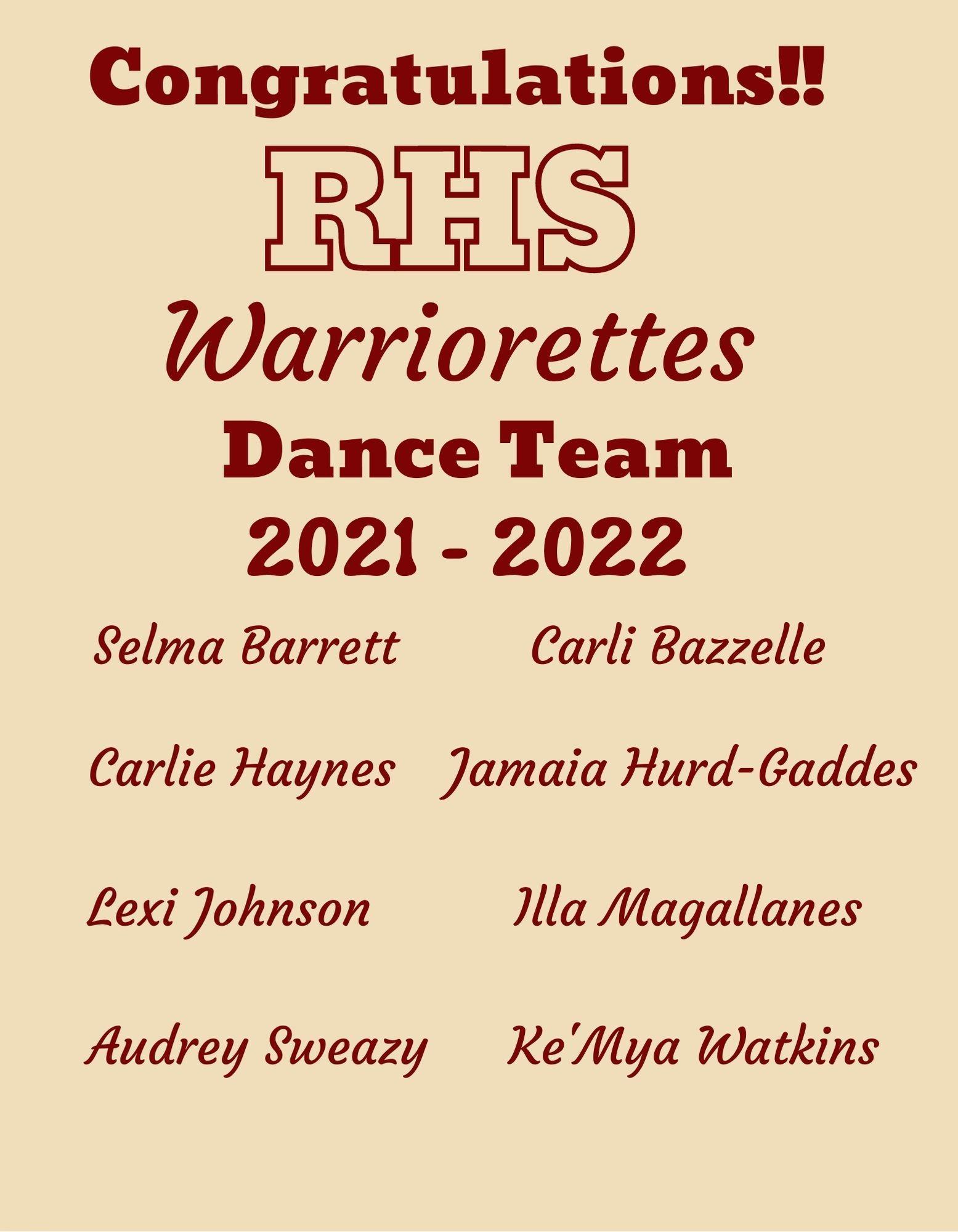 2021 - 2022 Team Members