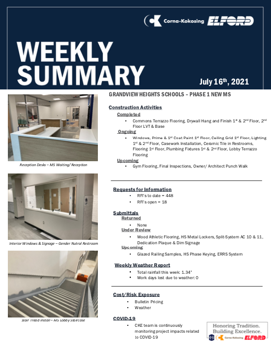 Construction Updates - July 16, 2021 Thumbnail Image