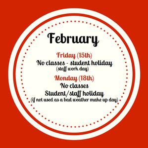 February 15 No School graphic