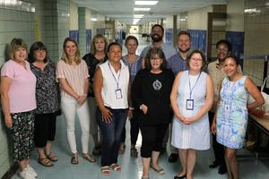 The Extended School Year Program for preschool through high school students in the Westfield Public School District is in its 16th year, with a continued focus on maintaining and strengthening academic skills through the summer to prepare students for the new school year.  Pictured here are some of the Westfield ESY staff for grades 6-12.