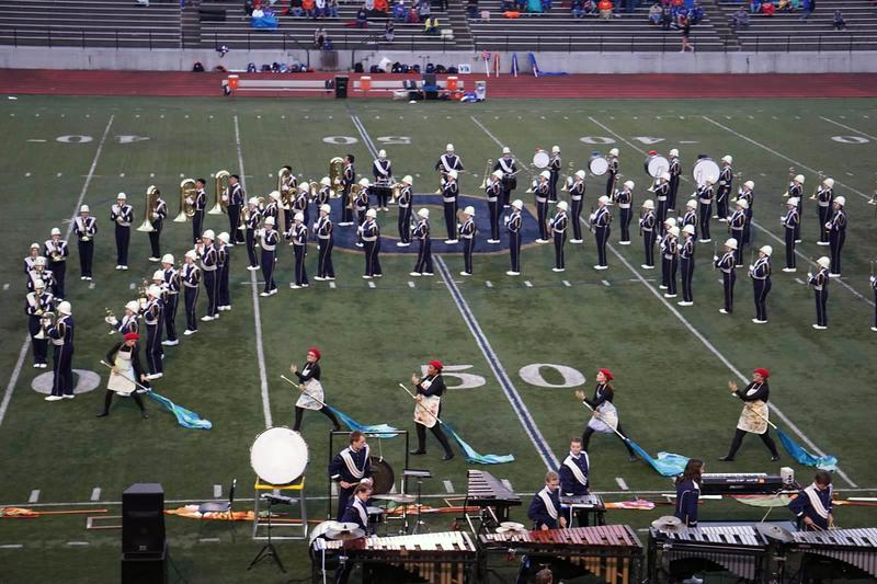 Otsego marching band on the field.