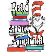 Cat in the Hat holding books, Read Across America