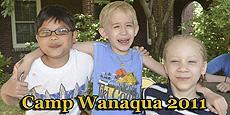 Three campers sharing a fun moment. TEXT: We were unable to hold our annual Camp Wanaqua - where kids unwind, unplug, & engage with their peers. We will be back in 2021 as the only tuition-free summer day camp for blind and VI children in the NYC area.