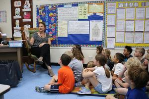 Wilson School, Grade 3 teacher Lynn Kraus read
