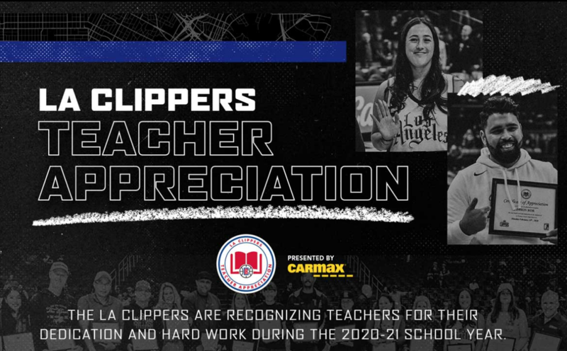 Congratulations to Mr. Gonzalez, Ms. Naranjo, Mr. Salvador, Ms. Juarez, and Ms. Gonzalez Baruch for being awarded the Los Angeles Clippers Association's Teacher Appreciation Award for the month of April 2021! Thank you for your hard work and service to Garfield and our community!