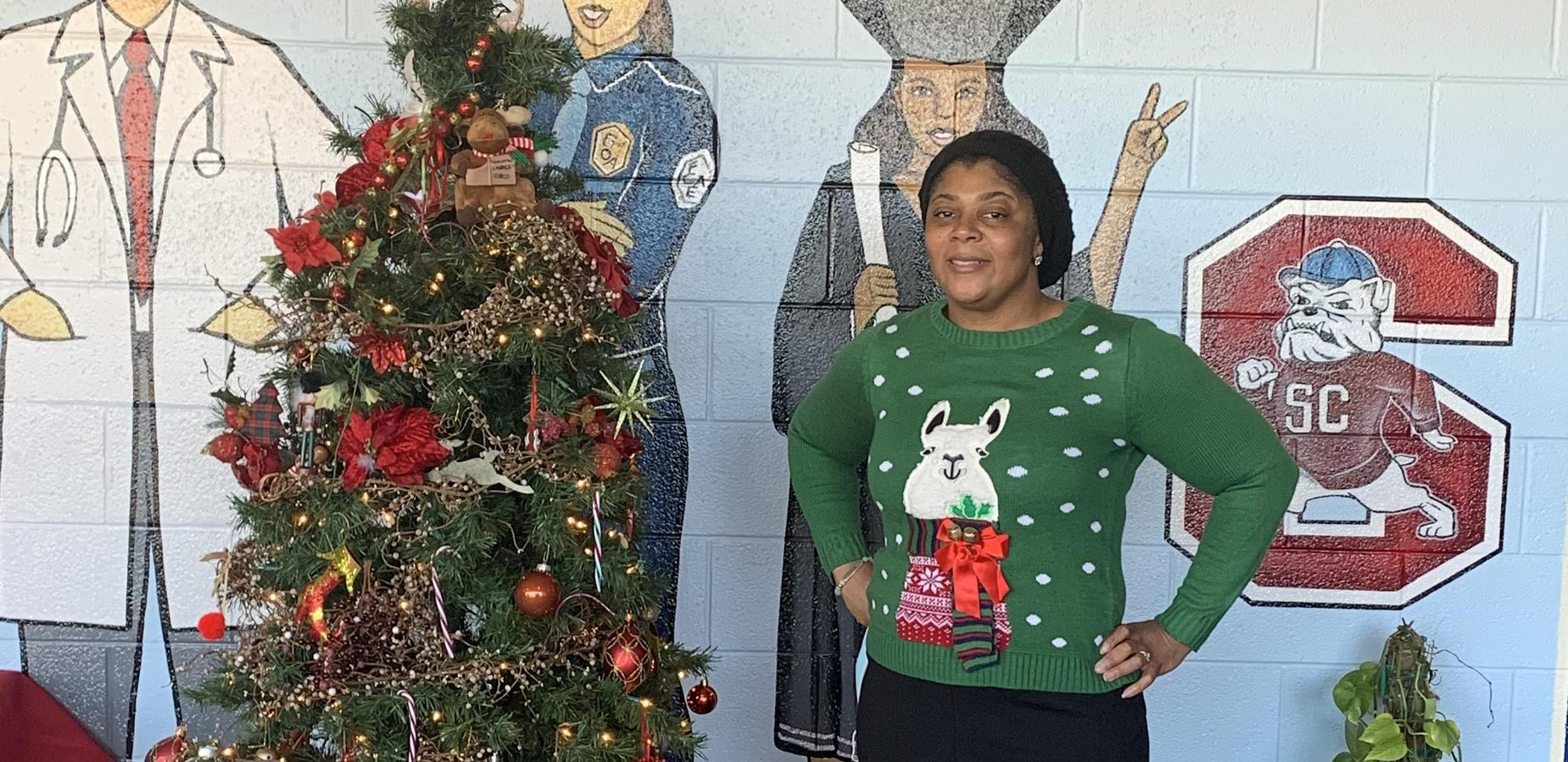 Mrs. Harris beautiful in her ugly Christmas sweater!
